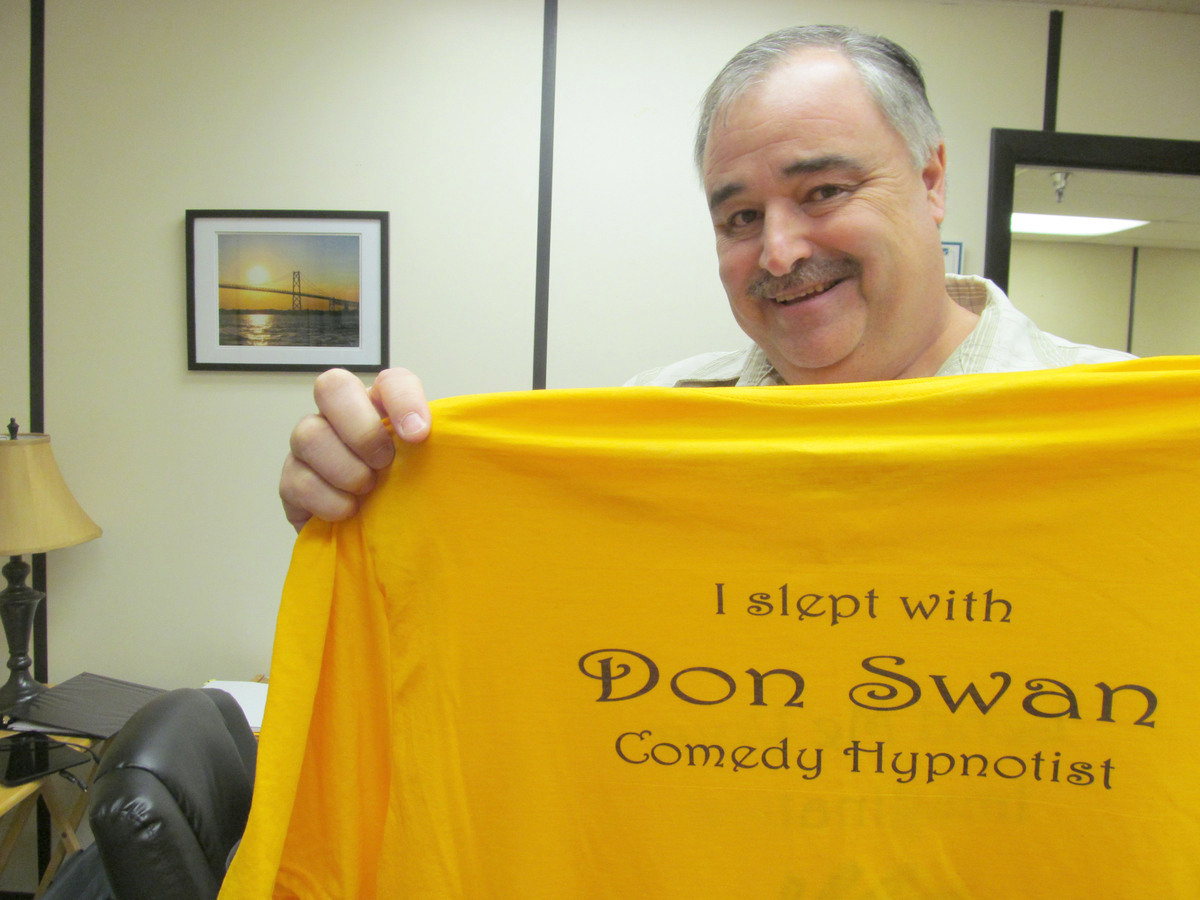 Don Swan runs two hypnotism businesses and a therapy practice called Seaway Hypnosis, and a comedy outfit called Swanie Entertainment. Photo: Lauren Rosenthal